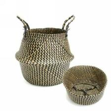 Seagrass Belly Basket Foldable Plant Pot Laundry Storage Bag Nursery Room Decor