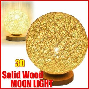 Wooden Rattan LED Table Desk Bedside Night Light Lamp Home Room Decor Warm 2021