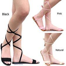 5870601c6 New Women OAh Black Pink Beige Lace Up String Flat Gladiator Sandals 6-11