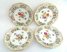 "4  Schumann Bavaria ""Chateau"" Dresden Flowers Reticulated Bread & Butter Plates"