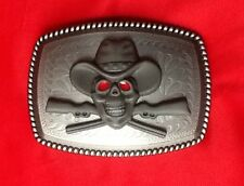 WESTERN CROSSED RIFFLE GUNS GUN SKELETON SKULL COWBOY HAT WILDWEST BELT BUCKLE
