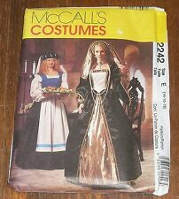 McCall's 2242 Renaissance Lady Servant Gown Headpiece Costume Pattern Sz 14 - 18