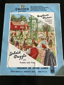 Vintage 1950s Milton Bradley Frame Tray Puzzle Children Of Sweden New Old Stock