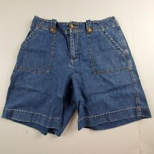 Orvis Womens Jean Shorts Sz 8 Flat Front Casual Cotton Medium Wash Denim