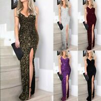 UK Women Sequin Prom Party Ball Gown Sexy Evening Bridesmaid V Neck Long Dress