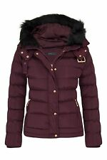 Womens Quilted Pocket Belt Padded Jacket Proof Warm Fur Zip Hooded Long UK 8-16 Wine 14