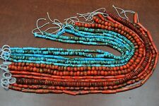 "12 STRANDS ASSORT DYED RED & BLUE BUFFALO BONE ROUND BEADING BEADS 16"" #T-1712A"