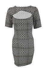 Women Ladies Chess Black & White Print Bodycon Key Hole Cut Out Pencil Size 8-14