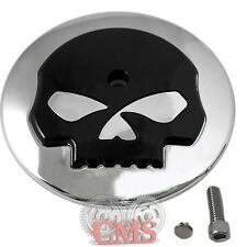 Chrome & Black Skull Air Filter Cleaner Cover Insert fits Harley Davidson Intake