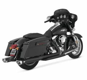 Vance & Hines - 46755 - Monster Oval Slip-Ons Exhaust Black/Chrome FLH/FLT 95-16