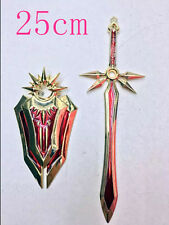 """US Seller Heavy Miniature League Of Legends LEONA Gold Red Sword 10"""" with Shield"""