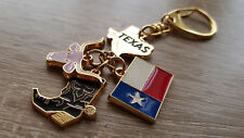Texas Boot Flag Map Bull Keychain Metal Souvenir