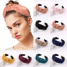 Womens Satin Cross Knotted Wide Headband Korean Twist Head Hoop Hair Accessories