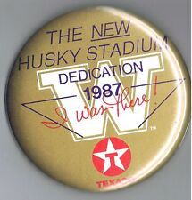 "1987 Washington Husky Football 3.5"" Pinback Button Stadium Dedication Texaco Oil"