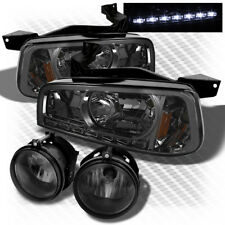 For 06-10 Charger 1-Piece Style Smoked Headlights w/DRL LED + Smk Fog Lights