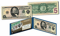 Morgan Silver Back 1886 $5 Grant Silver Certificate Banknote on Modern $5 Bill