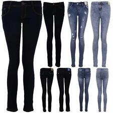 Women's Dark Denim Light Acid Wash Ladies High Waist Ripped Skinny Fit Jeans
