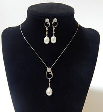 Genuine Cultured 8-9mm Freshwater Pearl Necklace Dangle Earring Set S925 Silver