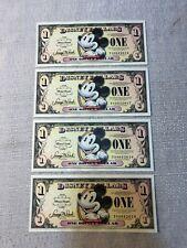 (4) 2008 Walt Disney Dollar Uncirculated $1 One Dollar Bill T Series Mickey Set