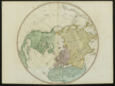 Northern Hemisphere. Arctic North Pole Greenland/N America joined FADEN 1802 map