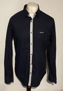 Armani Exchange Men's Casual Shirt Blue Super Slim Large Cotton Blend