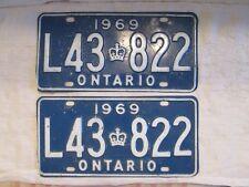 Pair 1969 License Plates - Ontario