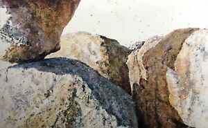 Russ Ball 1982 Hand Signed Original Watercolor Painting of Rocks, Make Offer!