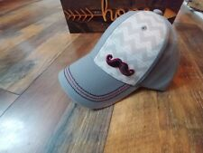 Pugs gray embroidered mustache adjustable baseball cap hat colorful under bill