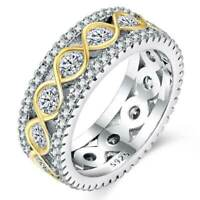 Two Tone Wedding Ring Women Fashion 925 Silver Jewelry White Sapphire Size 6-10