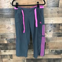 Adidas Women's Gray And Pink Tie Waist Cropped Athletic Pants Size Medium