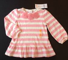 NWT Gymboree Snowflake Glamour 18-24 Months Pink Stripe Tulle Rosette Tunic Top