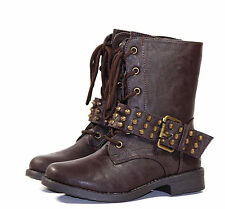 ANDREA-32K Laces Up Zipper Kids Youth Synthetic Combat Low Heel Boots Brown 2