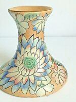 Vintage Toyo Floral Textured Design Peach Blue  Decorative Ceramic Candle Holder