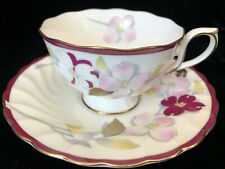 HOYA Bone China Cup and Saucer with Flowers - Made in Japan