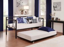 Daybed Trundle Bed Frame Twin Roll Out Metal Rolling Casters Guest Bedroom