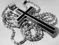 """GIFT BOXED STAINLESS STEEL & BLACK CROSS CRUCIFIX PENDANT NECKLACE & 24"""" CHAIN"""