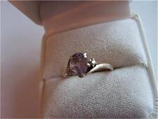 Vintage Genuine Amethyst & Diamond Sterling Silver Ring
