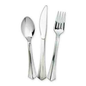 Silver Plastic Metallic Cutlery Set Dinner Lunch Party Fork Spoon NEW