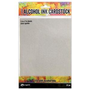 "Tim Holtz Alcohol Ink Cardstock - Silver Sparkle 5""X7"" 10Pc, TAC65500"