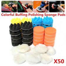 "50Pcs 3"" Inch Colorful Buffing Polishing Waxing Sponge Pads Kit For Car Polisher"