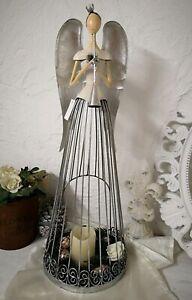 Angel Decorative Figurine Metal Cream Christmas Shabby Candle Holder 26in