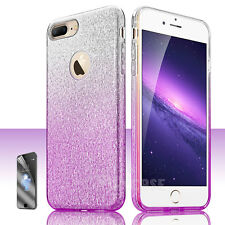 For Apple iPhone 7 8 Plus Bling Glitter Hybrid Rubber Hard Protective Case Cover