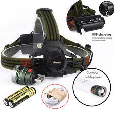 10000LM Headlamp XM-L T6 Headlight Head Light LED Rechargeable USB+Battery Kit