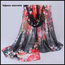 foulard écharpe 100%  mousseline de soie noir fleurs multicolores