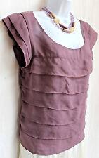 AMERICAN EAGLE Sheer Mauve Purple Layer Top Sz M Cap Sleeve Blouse Back Buttons