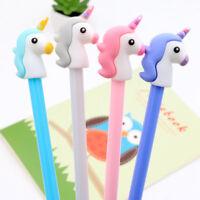 2Pcs Cute Unicorn Design Plastic Black Ink Gel Pen For Student Stationery 0.5mm