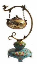 "Fine 15"" Chinese Cloisonne Enamel Gilt Dragons Hanging  Incense Burner Censer"