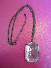 FACETED SQUARE BLACK CHAIN NECKLACE