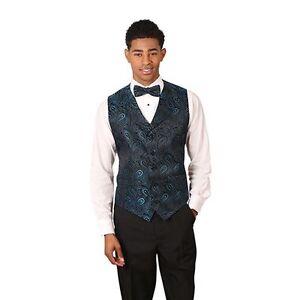 Men's Blue Paisley Pattern Jacquard Vest with Notch Lapel