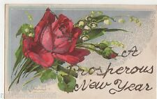C. Klein, Flowers, Red Rose New Year Applique Postcard, B562
